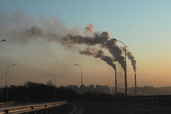 Factory Chimneys with Smoke